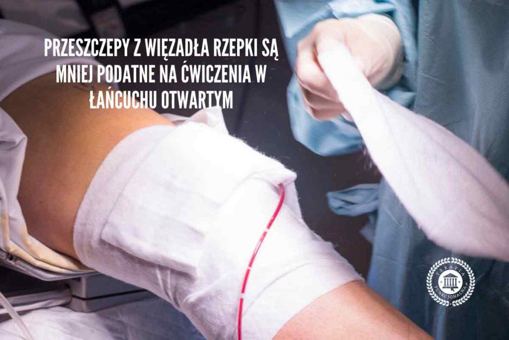 przeszczepy z więzadła rzepki są mniej podatne na ćwiczenia w łańcuchu otwartym
